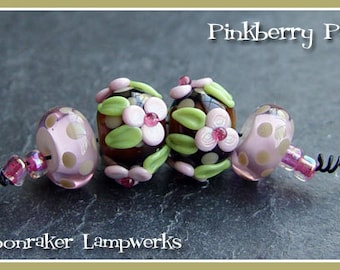 Pinkberry Floral Pair - Lampwork Beads