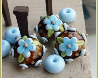 Kaffe Bloom lentil  - Lampwork Bead