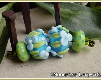 Hawaii Floral Pair - Lampwork Beads