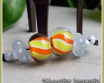Candy Corn Striped Pairs Halloween Lampwork Bead Set