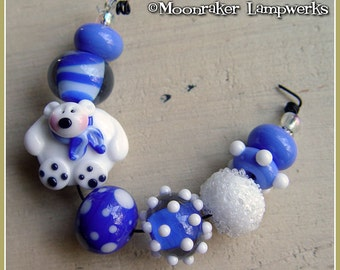 Chilly Willy Polar Bear SET Winter Holiday Lampwork Beads