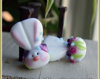 Floral Bunny Rabbit Spring Love Lampwork Bead