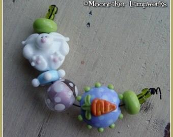 Hoppy White Bunny Spring Lampwork Bead Set
