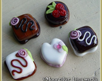 Chocolate Covered Candy Lampwork Bead Set