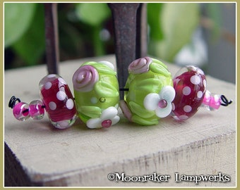 Tickled Pink Floral Pair - Lampwork Bead Set