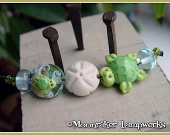 Sea Turtle Ocean Lampwork Bead Set