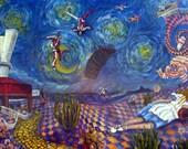 "Skydiving Art Print LARGE Alice Dreams of Skydive Arizona 10"" x 20"" Parachute Wind Tunnel Wonderland"