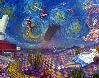 Skydiving Art Print Small Alice Dreams of Skydive Arizona Parachute Wind Tunnel Wonderland