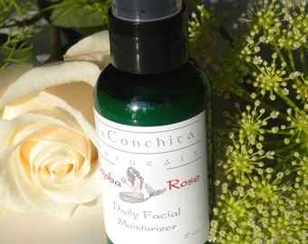 Natural Rosewater Face Cream - Weightless Face Lotion - All Skin Types - Great Mineral Makeup Base - 2 oz Pump