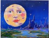 Oil Painting, Original Painting, Moon face, Wall Art, Folk Art, Fine art, Moon Painting, Blue Moon, Home Decor, Oil Paint on Wood
