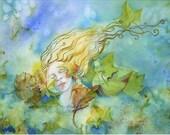 Goddess painting, Tree spirit, Original Watercolor, woodland decor, Spirit Painting, Wall Art, Mythological art,
