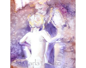 Mother and child painting, Watercolor painting, Original watercolor, family art, Abstract, Original painting, motherhood, children, baby,