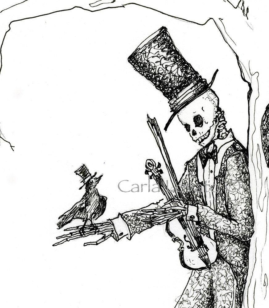 Ink Illustration: Ink Drawing Skeleton Drawing Drawing Of Skeleton Fine Art