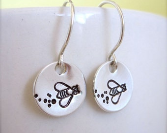 Bumble bee earrings, sterling silver bee earrings, hand stamped earrings, honey bee jewelry, queen bee, flying bee jewelry, buzzing bee