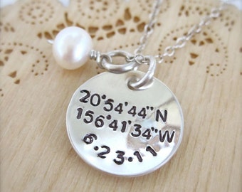 Latitude and Longitude coordinates necklace with date, geocaching necklace, gps jewelry, coordinate jewelry, geocache jewelry, morse code