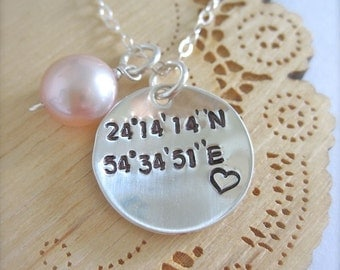Latitude and Longitude necklace with heart, coordinate jewelry, nautical necklace, sailing jewelry, newlywed gift, custom latitude longitude
