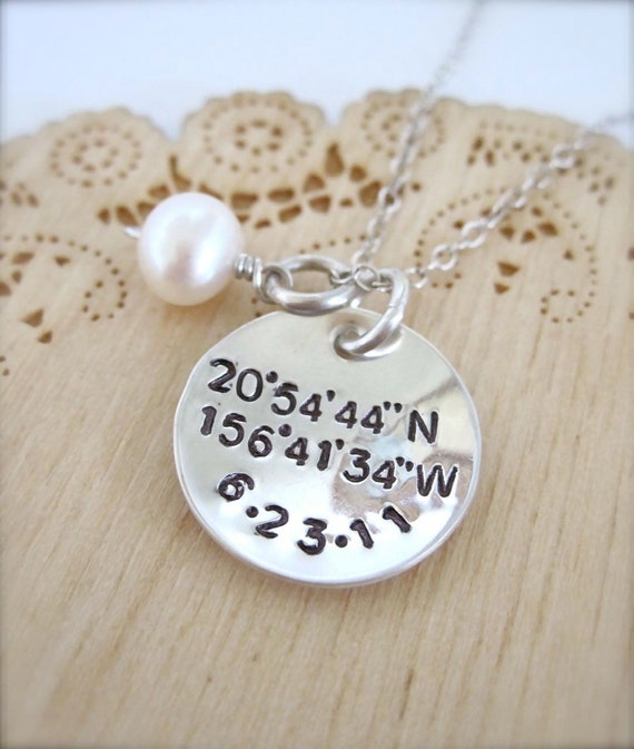 Latitude and Longitude necklace and date - jewelry with coordinates, wedding gift, handstamped coordinates necklace, geocache, gps