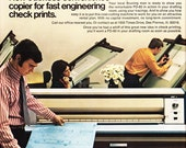 1973 ad engineering blueprint copier Bruning PD-80 drafting retro 70s obsolete office technology ephemera great to frame - Free USA shipping