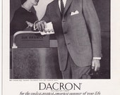 1961 ad Dacron Polyester Suit Du Pont Phoenix Clothes vintage Mad Men fashion retro travel businessman trip for framing - Free U.S. shipping