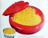 Vintage ad Niblets Corn 1949 canned Green Giant in heart shaped serving dish red yellow valentine kitchen decor to frame - Free USA shipping