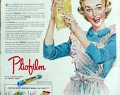 1949 ad Pliofilm Goodyear packaging film, happy housewife, margarine, GE bulb on back, fun retro kitchen decor to frame - Free US shipping
