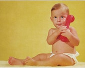 Vintage postcard Cute Businessman Baby with Red Toy Phone redhead ginger retro telephone cute silly fun Call Me card - Free U.S. shipping