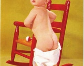 Vintage postcard Redhead Baby with Red Rocking Chair and Fallen Diaper retro adorable photo ginger hair so cute oops! - Free U.S. shipping