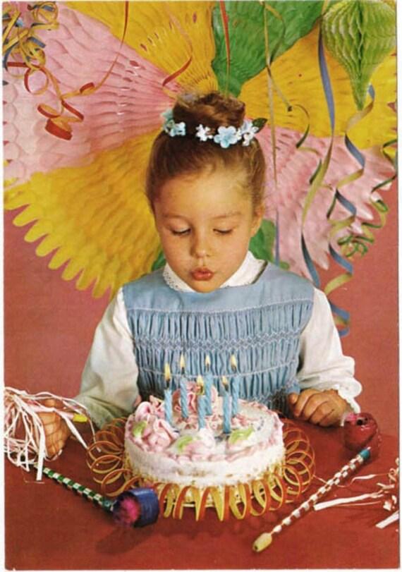 Items Similar To Vintage Postcard Birthday Party Girl Age