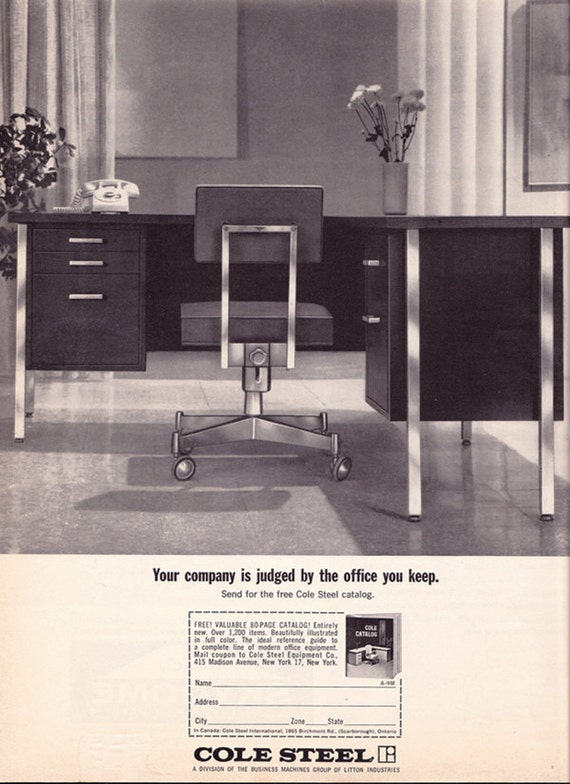 vintage ad cole steel office furniture early 1960s modern desk chair mad men free us