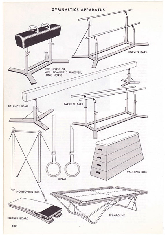 gymnastics apparatus vintage encyclopedia illustration page