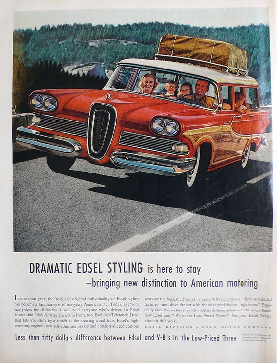 1958 ad Edsel woody station wagon woodie / Heinz foods on back Mad Men era - Free U.S. shipping