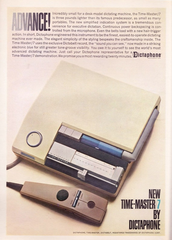 Early 1960s Dictaphone ad vintage office machine Mad Men business - Free U.S. shipping