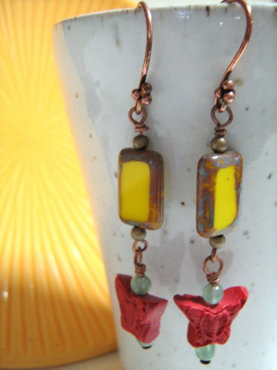 Yellow with red crimson - cinnebar with picasso czech beads earrings