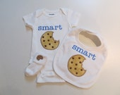 Babies,Onesie,Bib and Booties Set with Smart Cookie Applique