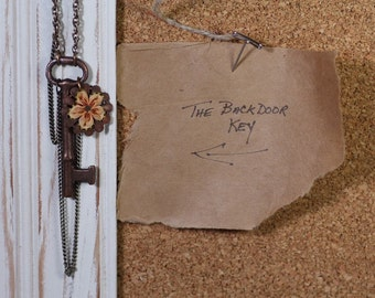 The Backdoor Key - Vintage Skeleton Key and Brass Flower Necklace by Prairieoats