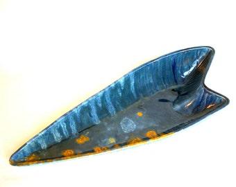 Atomic Boomerang Dish, Dark Slate Blue, Mustard Yellow, Seafoam Green - 1952, Mallory Ceramics Studio / JAMOR / Tabletop Catch-All