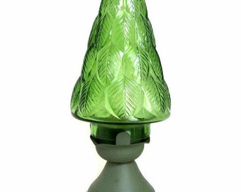 Green Leaf Votive Candle Holder with Metal Base and Cylindrical Glass Globe