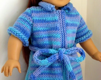 Instant Download PDF Knitting Pattern, Bath Robe for American Girl Doll and 18 inch dolls Digital Pattern