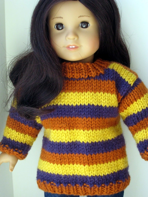 Instantly Downloadable PDF Knitting Pattern, Striped Tunic Sweater for American Girl Doll and 18 inch dolls