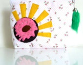 Hooray For Sprinkle Donuts Pouch - Homer's Donut - OOAK - Handmade in USA