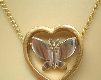 Vintage Heart Necklace Floating Butterfly Pretty Gold an Silver Dainty Chain Sweetheart Valentine Gift