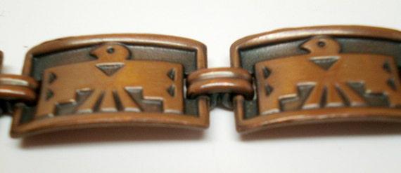 Vintage Bracelet Linked Copper Thunderbird Native American Indian 60s Statement Retro Mid Century