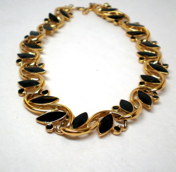 Vintage Trifari Necklace Black Enamel Bright Gold Tone Linked Stunning Statement Art Deco