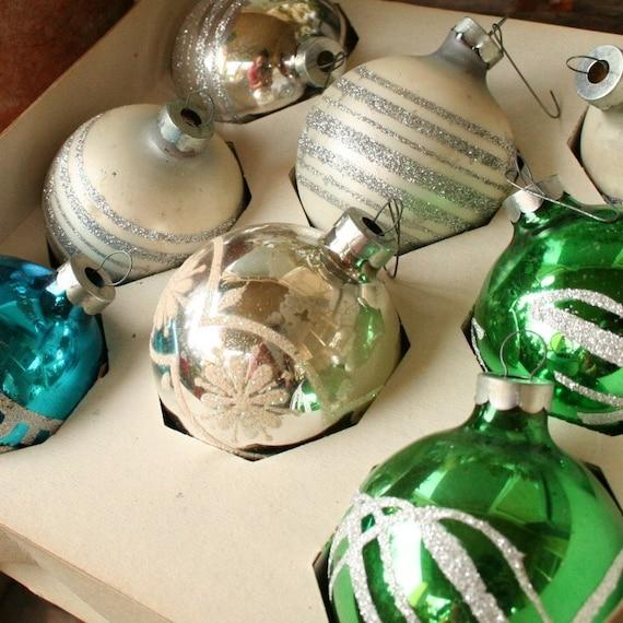 christmas ornament glass bulb glitter variety set vintage
