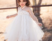 As Seen On Buzzfeed's 41 Flower Girl Dresses and Style Me Pretty, Ivory Sweet Sophistication Empire Flower Girl Tutu Dress, Country Wedding
