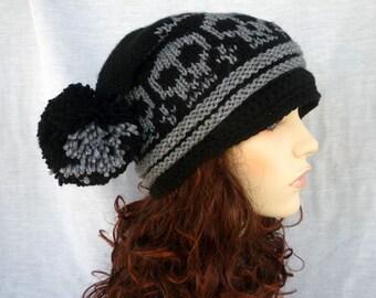 Pom-pom square hat with skulls-Newsboy style