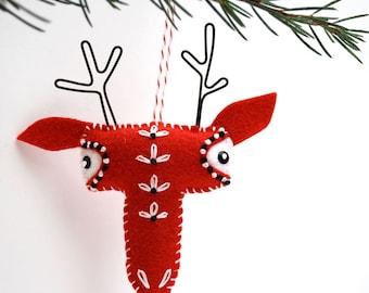 Scandinavian Felt Reindeer Ornament - hand embroidered ornament - folk art plush reindeer Christmas ornament - red with embroidered flowers
