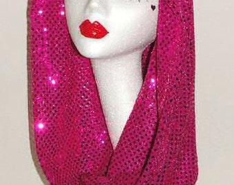 Fuchsia pink sparkle sequin festival snood hood / scarf Gaga