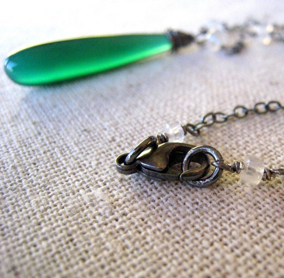 Green Necklace, Oxidized Sterling Silver Necklace, Green Chalcedony Long Necklace, Long Teardrop Gemstone  - Wicked