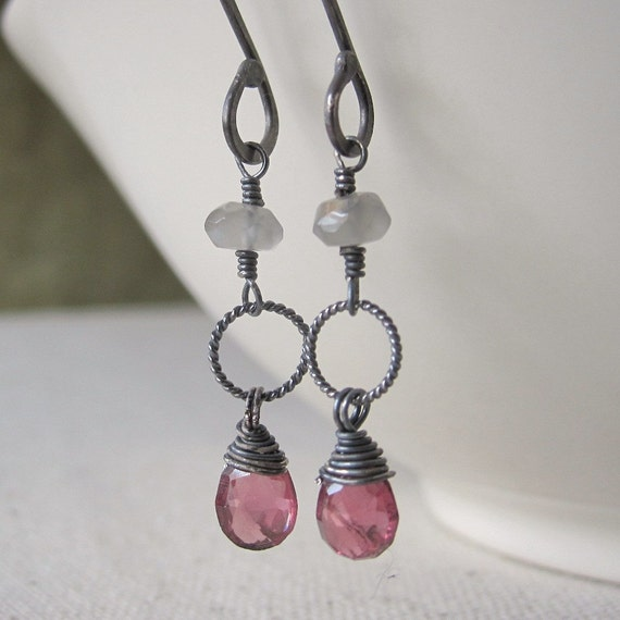 Garnet Earrings, Gray Moonstone, Oxidized Sterling Silver  - Vienna